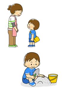 挨拶をする男の子と砂場で遊ぶ男の子のイラスト素材 [FYI01669304]
