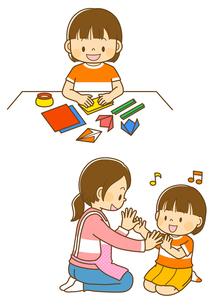 おりがみをする女の子、手遊びをする女の子と先生のイラスト素材 [FYI01669511]