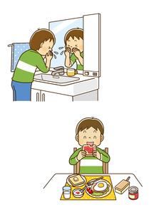 洗面所で顔を洗う男の子、朝食にパンを食べる男の子のイラスト素材 [FYI01669532]