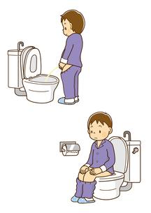 洋式トイレで用を足す男の子、洋式便器に座って用をたす男の子のイラスト素材 [FYI01669533]