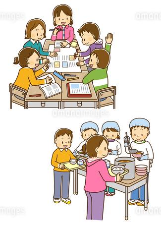 班でグループ学習をする小学生、給食当番でおかずを盛り付ける男の子のイラスト素材 [FYI01669535]