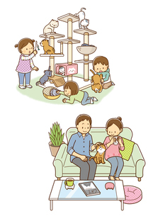 キャットタワーに登る猫と遊ぶ子供、ソファーに座る猫とカップルのイラスト素材 [FYI01669541]