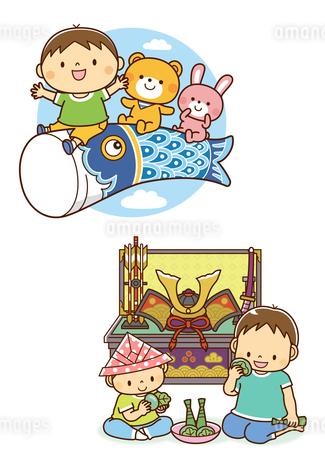こいのぼりにまたがる子供と動物たち、兜を飾って柏餅を食べる兄弟のイラスト素材 [FYI01669542]