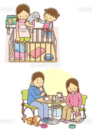 飼い犬のトイレを片付ける女性と子供、飼い犬とカフェでくつろぐカップルのイラスト素材 [FYI01669559]