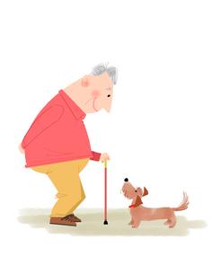 おじいさんと犬 心の友のイラスト素材 [FYI01669563]