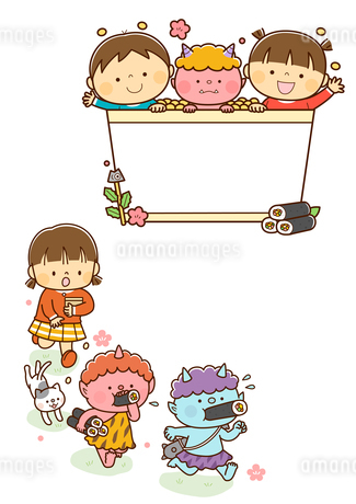升から顔を出す幼児と鬼、豆まきをする子供と逃げる鬼のイラスト素材 [FYI01669565]