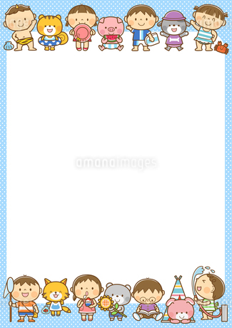 夏の子どもと動物のフレームのイラスト素材 [FYI01669576]