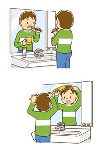 洗面所で歯みがきをする男の子、洗面所で髪をとかす男の子のイラスト素材 [FYI01669581]