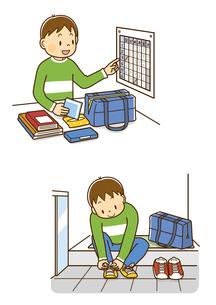 自宅で時間割を確認する男の子、玄関で靴を履く男の子のイラスト素材 [FYI01669590]