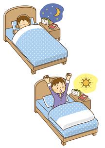 ベッドで寝ている男の子、朝ベッドで目を覚ました男の子のイラスト素材 [FYI01669615]
