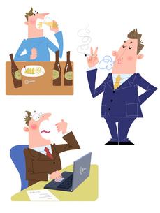 20~30代男性の生活習慣病、喫煙・飲酒・寝不足のイラスト素材 [FYI01669640]