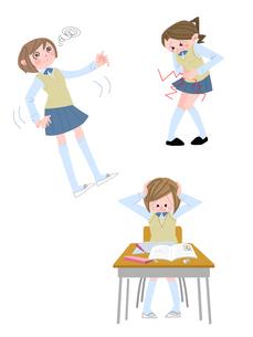 中高生女子の生理痛・めまい・うつのイラスト素材 [FYI01669643]