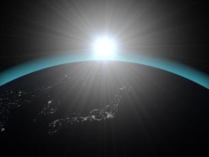 地球(夜)と太陽のイラスト素材 [FYI01669656]