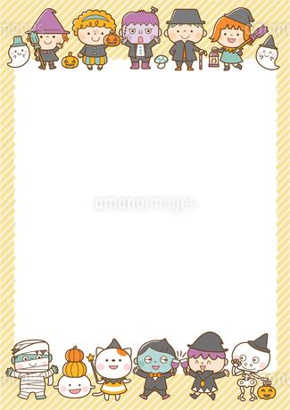 ハロウィンの仮装フレームのイラスト素材 [FYI01669657]