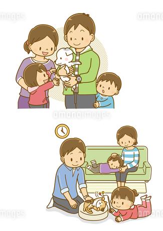 子犬を抱っこする父親と家族、ペットの猫と遊ぶ女の子と家族のイラスト素材 [FYI01669660]
