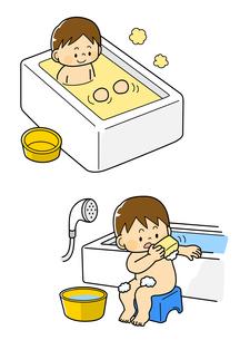 お風呂に入る男の子と体を洗う男の子のイラスト素材 [FYI01669667]