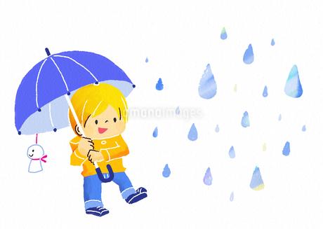 傘をさす子供と雨のイラスト素材 [FYI01669670]