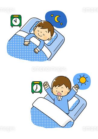 寝ている男の子と起きる男の子のイラスト素材 [FYI01669671]