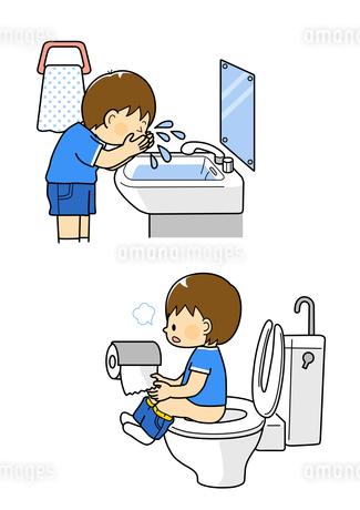 顔を洗う男の子とトイレに行く男の子のイラスト素材 [FYI01669672]