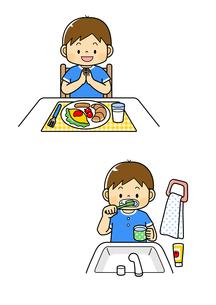 朝ごはんを食べる男の子と歯みがきをする男の子のイラスト素材 [FYI01669673]