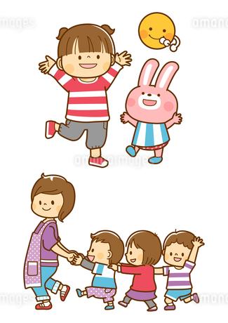 お月見をする子供とうさぎ、お散歩する幼児と先生のイラスト素材 [FYI01669677]