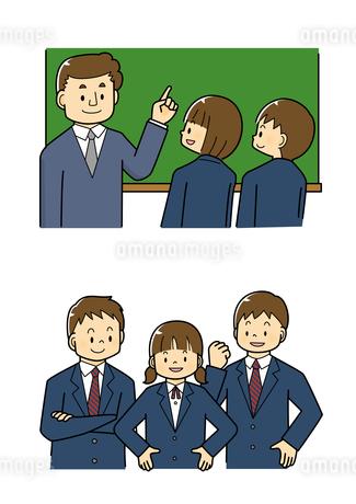 黒板で説明する先生と生徒 中学生の男女のイラスト素材 [FYI01669689]