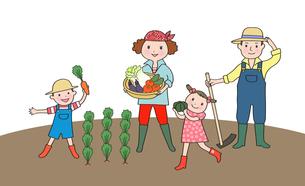 畑で野菜を収穫する家族のイラスト素材 [FYI01669712]