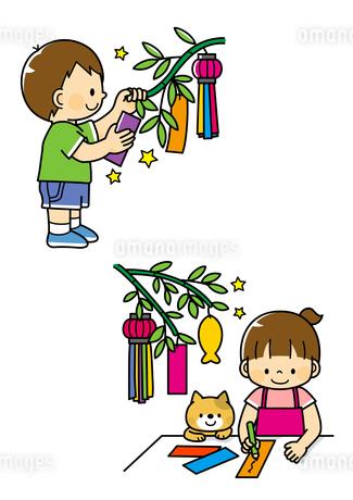 七夕の短冊を飾る子供・短冊を描く子供と猫のイラスト素材 [FYI01669716]