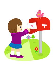 ポストから手紙を取る女の子と小鳥のイラスト素材 [FYI01669721]