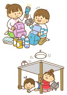 防災グッズをつめる子供と地震で机の下に隠れる子供のイラスト素材 [FYI01669723]