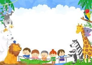 子どもたちと動物のフレームのイラスト素材 [FYI01669730]
