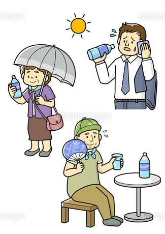 熱中症予防をする老人と水分補給するサラリーマンのイラスト素材 [FYI01669732]