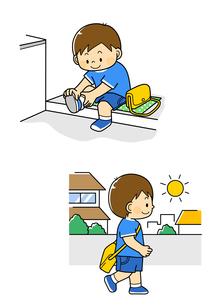 靴を履く男の子と外を歩く男の子のイラスト素材 [FYI01669733]