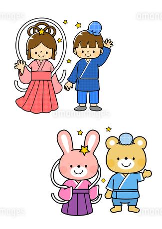 おり姫と彦星・うさぎとクマのおり姫と彦星のイラスト素材 [FYI01669734]