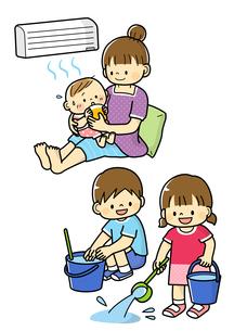 熱中症予防する赤ちゃんと打ち水をする子どもたちのイラスト素材 [FYI01669775]