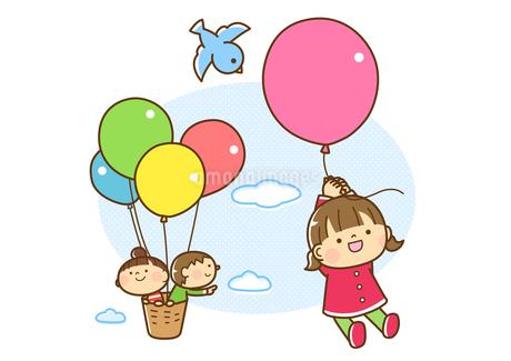 風船で空を飛ぶ子どもたちのイラスト素材 [FYI01669855]