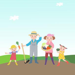 自然の中で野菜を収穫する家族のイラスト素材 [FYI01669934]