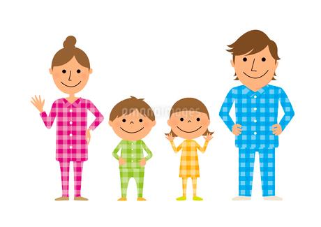 パジャマを着た家族のイラスト素材 [FYI01670031]
