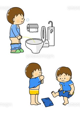トイレに行く男の子と着がえをする男の子のイラスト素材 [FYI01670058]