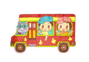 ドライブをするメガネのクマと男の子と女の子のイラスト素材 [FYI01670059]