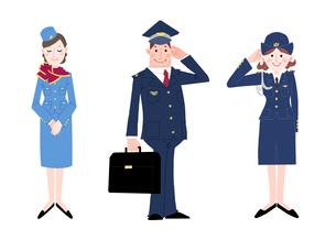 いろいろな職業 キャビンアテンダント パイロット 婦警のイラスト素材 [FYI01670219]