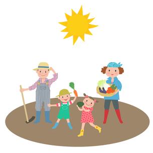 太陽の下で野菜を収穫する家族のイラスト素材 [FYI01670284]
