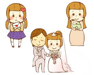 女性の人生 高校時代と結婚と出産のイラスト素材 [FYI01670309]