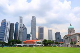 クリケット場と高層ビル街とナショナル・ギャラリー・シンガポールの写真素材 [FYI01670564]