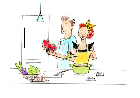 料理を作っている女性と男性のイラスト素材 [FYI01670574]