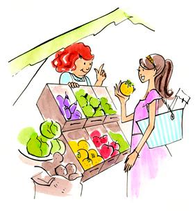 買い物をしている女性のイラスト素材 [FYI01670575]