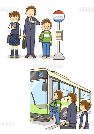 バス停で並んでバスを待つ男の子、バスに乗り込む男の子のイラスト素材 [FYI01670871]