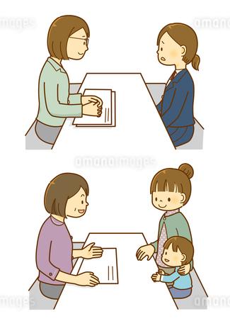 カウンセラーと相談をする子どもと親子のイラスト素材 [FYI01670875]