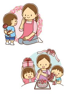 母の日のカーネーションを送る男の子、母の日のケーキを送る兄弟のイラスト素材 [FYI01670877]