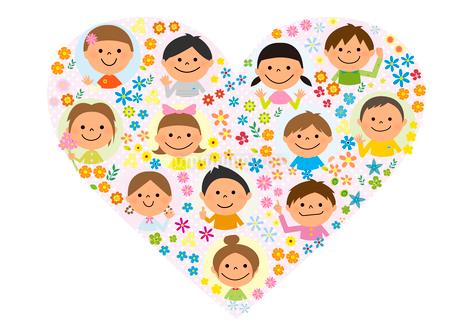 ハートをかたどった子供と花のイラスト素材 [FYI01670907]